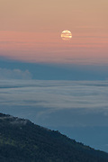 Moonrise over Costa Rica's Caribbean coast as seen from Irazu Volcano.