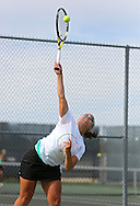 Iowa City West's Elena Wilson serves the ball during the Class 2A state team tennis tournament at Veterans Memorial Tennis Center in Cedar Rapids on Saturday, June 1, 2013.