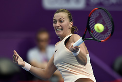 DOHA, Feb. 14, 2018  Petra Kvitova of Czech Republic returns the ball during the single's second round match against Agnieszka Radwanska of Poland at the 2018 WTA Qatar Open in Doha, Qatar, on Feb. 14, 2018. Petra Kvitova won 2-1.   wll) (Credit Image: © Nikku/Xinhua via ZUMA Wire)