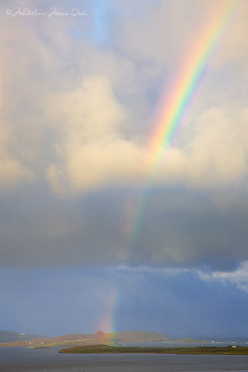 colourful irish rainbow over begenish island nearby cahersiveen, ring of kerry, ireland / rb013