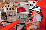Child inside an Israeli Magen David Adom Ambulance Model Release Available