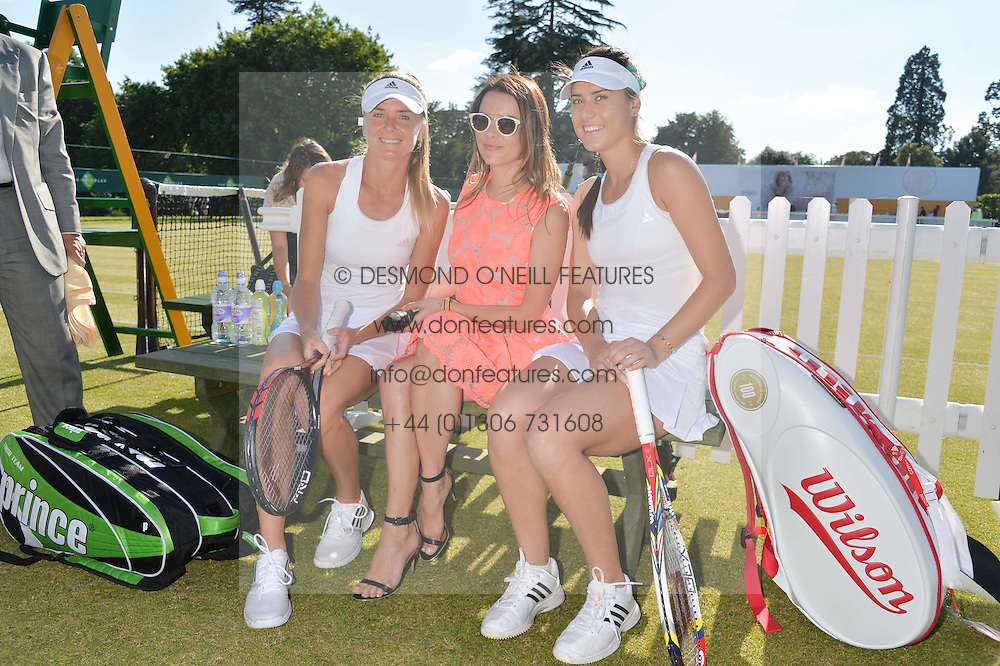 Left to right,  DANIELA HANTUCHOVA, JULIET ANGUS and SORANA CIRSTEA at the Summer Solstice Party during the Boodles Tennis event hosted by Beulah London and Taylor Morris at Stoke Park, Park Road, Stoke Poges, Buckinghamshire on 21st June 2014.