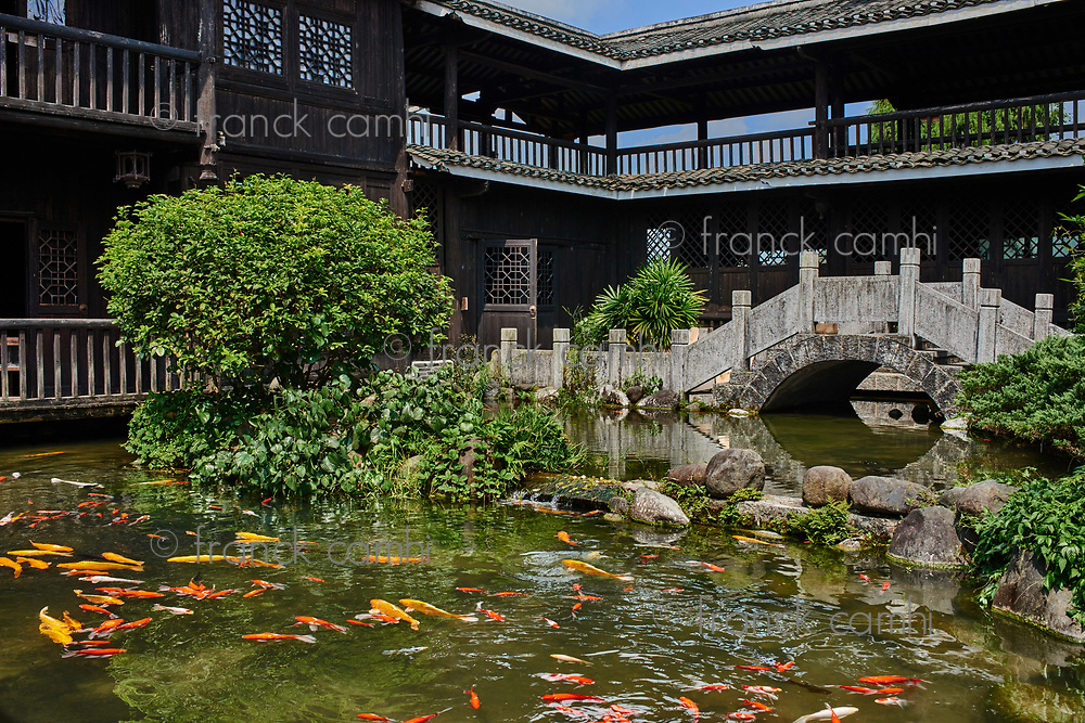 koi fish pond in a traditional house of Shangri La between Guilin and Yangshuo in Guangxi province  China