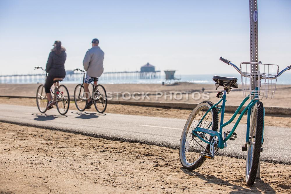 Couple Riding Bikes Along the Huntington Beach Bike Path