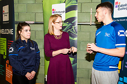 Pictured: The Minster met  Emma Auld and Stephane Murray who are studying Access to Coaching and Sports Development.<br />