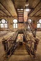 A long series of wrought iron staircases in the historic Tennessee Brewery in Memphis, TN.