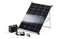 Solar power kit with a portable 100 Watt crystalline solar panel, inverter, charge controller and a battery isolated on white background