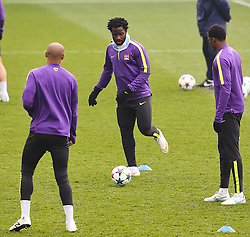 Manchester City's Wilfred Bony is pictured during the training session at the Etihad Campus ahead of the UEFA Champions League second leg match against FC Barcelona - Photo mandatory by-line: Matt McNulty/JMP - Mobile: 07966 386802 - 17/03/2015 - SPORT - Football - Manchester - Etihad Campus - Barcelona v Manchester City - UEFA Champions League