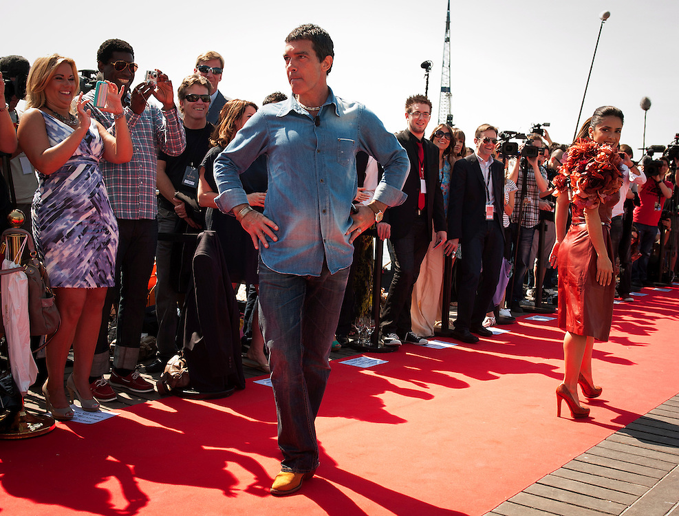 CANNES, FRANCE - MAY 11: Antonio Banderas and Salma Hayek attend the 64th Annual Cannes Film Festival on May 11, 2011 in Cannes, France.