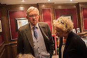 SIR EDWARD CAZALET, David Campbell Publisher of Everyman's Library and Champagen Bollinger celebrate the completion of the Everyman Wodehouse in 99 volumes and the 2015 Bollinger Everyman Wodehouse prize shortlist. The Archive Room, The Goring Hotel. London. 20 April 2015.