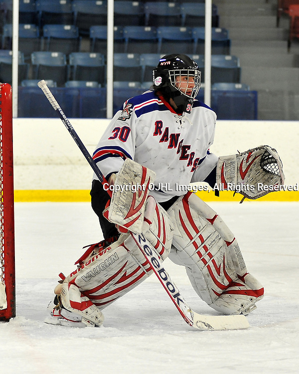 NORTH YORK, ON - Feb 26: OJHL South West Conference playoff series round one, North York Rangers vs St. Michael's Buzzers. Jason Pucciarelli #30 of the North York Rangers Hockey Club during first period game action.<br /> (Photo by Shawn Muir / OJHL Images)