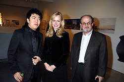 Left to right, LANG LANG, LOUISE BLOUIN MACBAIN and SALMAN RUSHDIE at the Montblanc de la Culture Arts Patronage Award 2008 presented to Louise Blouin MacBain at the Louise Blouin MacBain Institute, 3 Olaf Street, London W11 on 16th April 2008.<br />