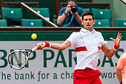 Novak Djokovic (srb) during the Roland Garros French Tennis Open 2018, day 2, on May 28, 2018, at the Roland Garros Stadium in Paris, France - Photo Pierre Charlier / ProSportsImages / DPPI