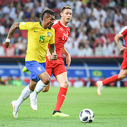 Paulinho of Brazil and Nemanja Matic of Serbia during the FIFA World Cup Group E match between Serbia and Brazil on June 27, 2018 in Moscow, Russia. (Photo by Anthony Dibon/Icon Sport)