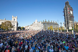 © Licensed to London News Pictures. 20/10/2018. London, UK. Thousands of protesters gather in Parliament Square after the People's Vote March in central London to call on government to give the public a vote on the final Brexit deal. Photo credit: Rob Pinney/LNP