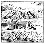 Production of Salpetre (Nitre, Potassium Nitrate, or KN03). Nitre beds, heaps of manure mixed with chalky earth. These were watered with urine and manure water. Calcium nitrate crystallised on the surface and was scraped off and taken to shed for processing. Saltpetre is the principal ingredient in gunpowder, and is still used in the preservation of some foods.  In medicine it was used internally as a diuretic, but now is only used externally for a number of conditions, such as asthma. From 1683 English edition of  'Beschreibung allerfurnemisten mineralischen Ertzt', Lazarus Ercker, (Prague, 1574). Copperplate engraving.