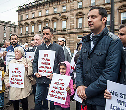 Muslims Stand Against Terrorism held a rally in George Square, Glasgow in condemnation of the terror attacks in Manchester and London. Speakers included Aamar Anwar and MSP's Anas Sarwar and Sandra White (pictured)<br /> <br /> &copy; Dave Johnston/ EEm