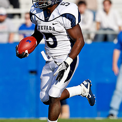 December 4, 2010; Ruston, LA, USA; Nevada Wolf Pack running back Mike Ball (5) against the Louisiana Tech Bulldogs during the first half at Joe Aillet Stadium.  Mandatory Credit: Derick E. Hingle