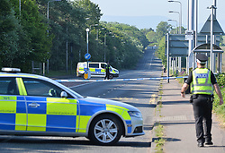 Police in attendance at the site of a serious accident on Maybury Road in Edinburgh, which remains closed.<br /> <br /> © Dave Johnston / EEm