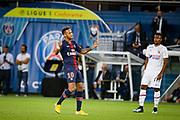 PSG Neymar celebrates during the French championship L1 football match between Paris Saint-Germain (PSG) and Caen on August 12th, 2018 at Parc des Princes, Paris, France - Photo Geoffroy Van der Hasselt / ProSportsImages / DPPI
