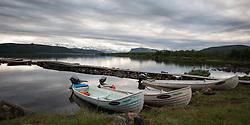 22 July 2017, Tjuonajokk, Lapland, Sweden: The view north, from the Tjuonajokk fishing lodge's dock.