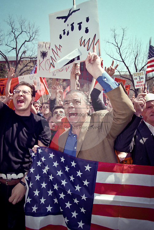 Albanian-Americans protest in support of NATO bombings of Yugoslavia and demanding more action to protect Kosovo across from the White House March 31, 1999 in Washington, DC.