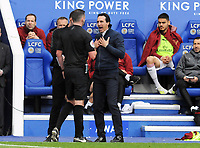Football - 2018 / 2019 Premier League - Leicester City vs. Arsenal<br /> <br /> Referee, Michael Oliver walks over to Arsenal Manager, Unai Emery warning him about his conduct, at King Power Stadium.<br /> <br /> COLORSPORT/ANDREW COWIE