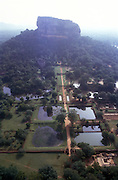 Sri Lanka. Aerial view of Sigiriya showing the pleasure gardens at entrance.