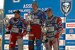 13.03.2016, Assen, BEL, FIM Eisspeedway Gladiators, Assen, im Bild 1. Dimitry Khomitsevich (RUS), 2. Dimitry Koltakov (RUS), 3. Daniil Ivanov (RUS) // during the Astana Expo FIM Ice Speedway Gladiators World Championship in Assen, Belgium on 2016/03/13. EXPA Pictures © 2016, PhotoCredit: EXPA/ Eibner-Pressefoto/ Stiefel<br /> <br /> *****ATTENTION - OUT of GER*****
