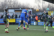 AFC Wimbledon striker Joe Pigott (39) scoring goal to make it 1-0 during the EFL Sky Bet League 1 match between AFC Wimbledon and Bristol Rovers at the Cherry Red Records Stadium, Kingston, England on 17 February 2018. Picture by Matthew Redman.