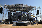Outdoor music festival. The main stage is being built Photographed in Haifa, Israel