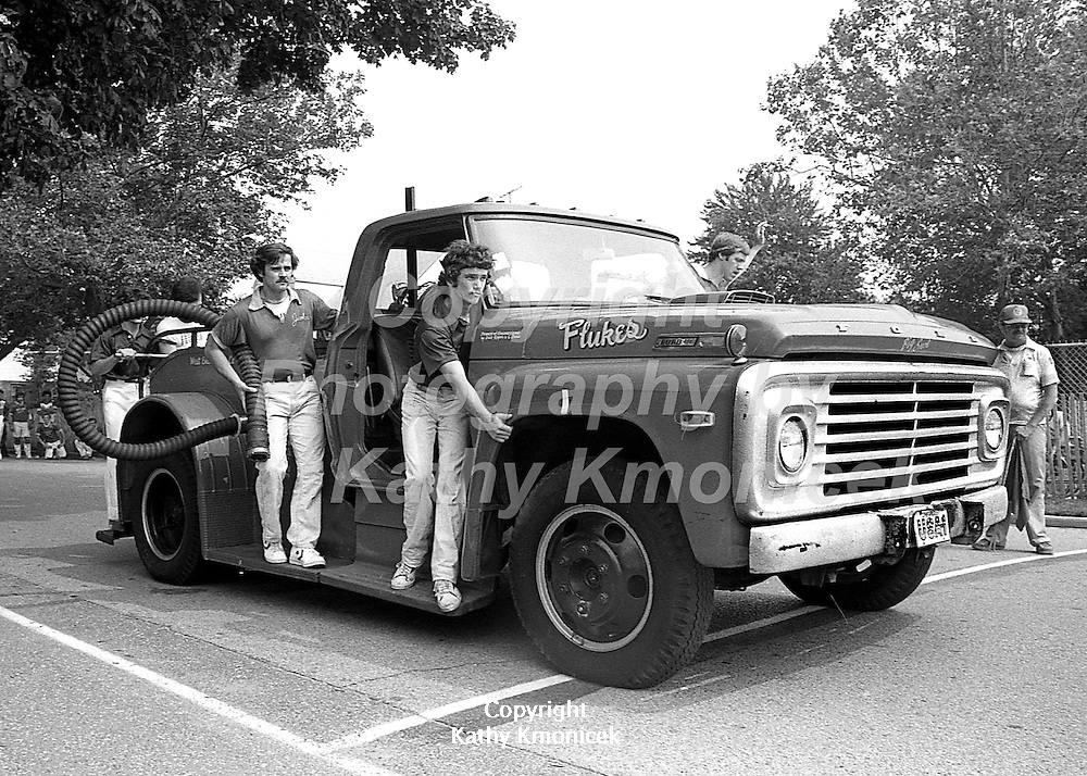 The Hempstead Fire Department Flukes racing team in action in 1981.<br />  &copy; Photography by Kathy Kmonicek