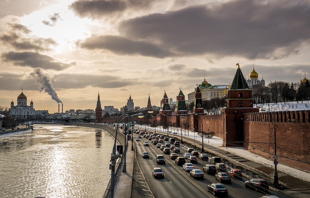 View of the Moskva River with the Kremlin and Cathedral of Christ the Saviour in the background in Moscow.