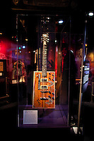 Bo Diddley Electric Guitar, 1978 Kinman, at The Rock and Roll Hall of Fame Annex in New York City..(Photo by Robert Caplin)..
