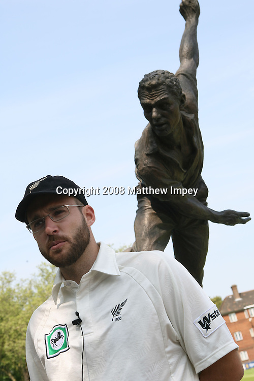 Daniel Vettori the New Zealand captain stands infront of a statue at Lords. New Zealand cricket training. Lord's Cricket Ground, St.Johns Wood, London, England. 13 May 2008. Photo: Matthew Impey/PHOTOSPORT