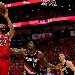 Apr 21, 2018; New Orleans, LA, USA; New Orleans Pelicans forward Anthony Davis (23) shoots over Portland Trail Blazers forward Ed Davis (17) during the second quarter in game four of the first round of the 2018 NBA Playoffs at the Smoothie King Center. Mandatory Credit: Derick E. Hingle-USA TODAY Sports