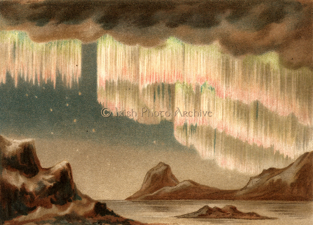 Aurora Borealis or Northern Lights. Curtain aurora observed from Greenland, 6 January 1861.   Caused by high-speed particles ejected from the Sun, they are most commonly observed during periods of maximum sunspots. From 'Die Naturkrafte' by M  Wilhelm Meyer (Leipzig, 1903). Chromolithograph.