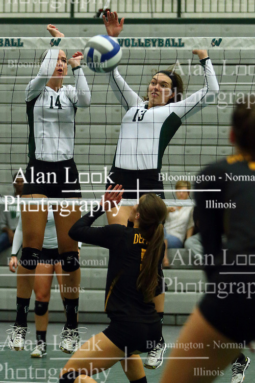 28 October 2016:  Deidi Dague and Rachel Burkman during an NCAA womens division 3 Volleyball match between the DePauw Tigers and the Illinois Wesleyan Titans in Shirk Center, Bloomington IL