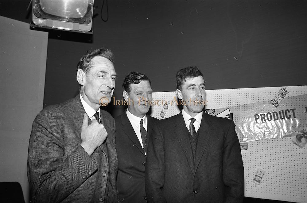 23/04/1965<br /> 04/23/1965<br /> 23 April 1965 <br /> Merville Dairy Conference at  Telefis Eireann studios at Donneybrook, Dublin. Sales conference for Merville distributers by Merville Cream Ices Ltd., (l-r): Mr. Victor Craigie, Director, Merville Dairy; Mr. Eric Craigie, Managing Director and Mr. Roy Craigie, Director.