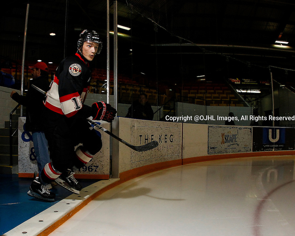NEWMARKET, ON - Oct 15, 2015 : Ontario Junior Hockey League game action between Whitby and Newmarket, Ryan Shaw #12  during the pre-game warm-up.<br /> (Photo by Brian Watts / OJHL Images)