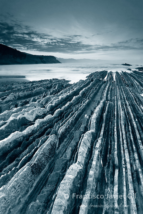 Zumaia´s beach in black and white, Gipuzkoa (Spain)