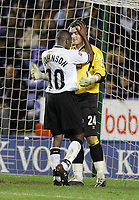 Photo: Paul Thomas. Leicester City v Derby County, Walkers Stadium, Leicester. Coca Cola Championship, 26/04/2005. Team mates Michael Johnson and keeper Lee Camp say sorry to each other for getting mixed up in defence and almost conceed another goal.