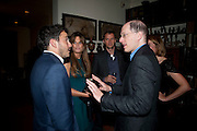 GILES COREN; JEMIMA KHAN; JOHN BATSEK;  ALAIN DE BOTTON, , Freud Museum dinner, Maresfield Gardens. 16 June 2011. <br /> <br />  , -DO NOT ARCHIVE-© Copyright Photograph by Dafydd Jones. 248 Clapham Rd. London SW9 0PZ. Tel 0207 820 0771. www.dafjones.com.