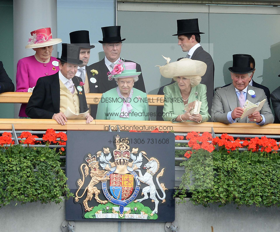 JOHN WARREN, HM THE QUEEN, HRH THE DUCHESS OF CORNWALL and HRH THE PRINCE OF WALES at the 2nd day of the 2013 Royal Ascot Horseracing festival at Ascot Racecourse, Ascot, Berkshire on 19th June 2013.