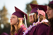 Elizabeth Serrano Francis, left, and the rest of the Cal Hills High School Class of 2013 are welcomed by their teachers during graduation at the Milpitas Sports Center in Milpitas, California, on June 6, 2013. (Stan Olszewski/SOSKIphoto)