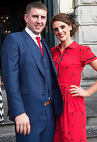 30/07/2015 report free : Sean Dennehy and Caroline Ferguson from Glanmire at the 4 star Hotel Meyrick's Most Stylish Lady competition, for Ladies Day Galway Race week 2015, Judges were by leading Irish Model Rozanna Purcell,  Mandy Maher Catwalk Models and Mary Lee , Model The winners received an amazing €2,000 prize package from Fallers of Galway . Photo:Andrew Downes, xposure