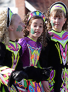 Goshen, New York - Girls wearing Irish dancing costumes march during the Mid-Hudson St. Patrick's Day parade on March 11, 2007.