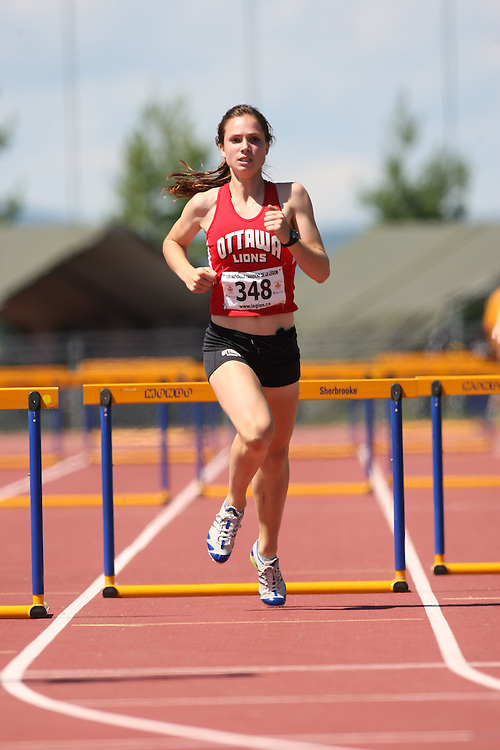(Sherbrooke, Quebec---10 August 2008) Fiona Callender competing in the 400m hurdles at the 2008 Canadian National Youth and Royal Canadian Legion Track and Field Championships in Sherbrooke, Quebec. The photograph is copyright Sean Burges/Mundo Sport Images, 2008. More information can be found at www.msievents.com.