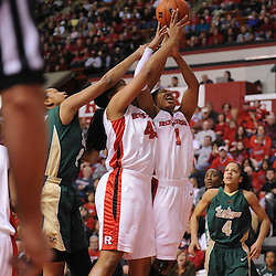 Jan 31, 2009; Piscataway, NJ, USA; Rutgers guard Khadijah Rushdan (1) and center Rashidat Junaid (43) go up for an offensive rebound during the first half of South Florida's 59-56 victory over Rutgers in NCAA women's college basketball at the Louis Brown Athletic Center