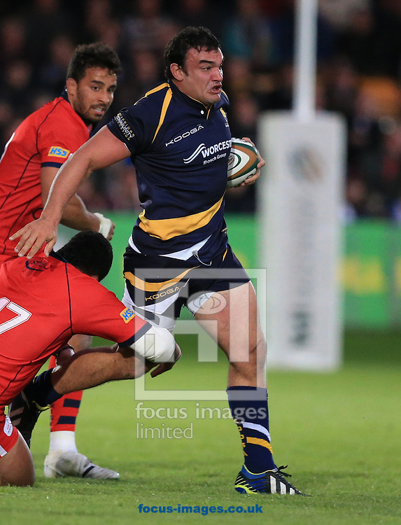 Agustin Creevy of Worcester Warriors on the charge  during the second leg of the Greene King IPA Championship Final at Sixways Stadium, Worcester<br /> Picture by Michael Whitefoot/Focus Images Ltd 07969 898192<br /> 27/05/2015